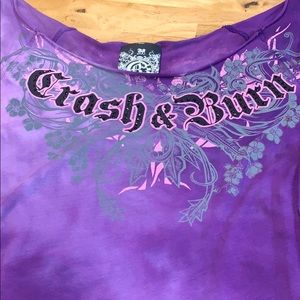 NWT Crash & Burn purple tie die top